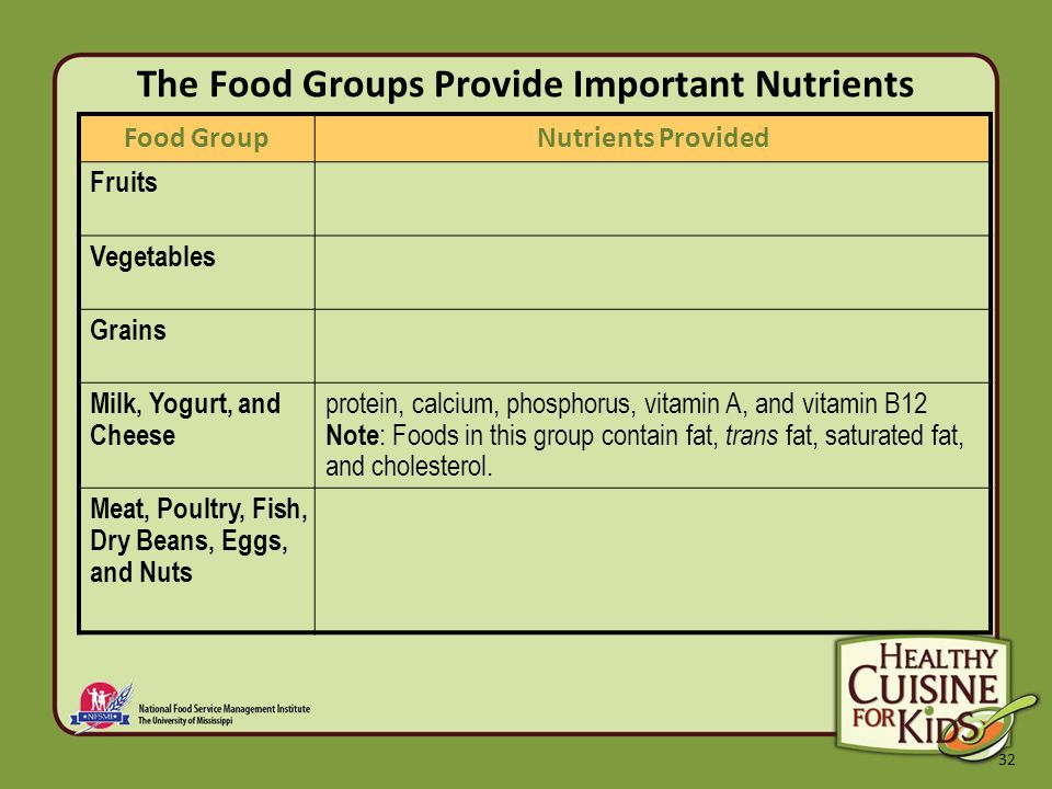 32 The Food Groups Provide Important Nutrients Food GroupNutrients Provided Fruits Vegetables Grains Milk, Yogurt, and Cheese protein, calcium, phosphorus, vitamin A, and vitamin B12 Note : Foods in this group contain fat, trans fat, saturated fat, and cholesterol.