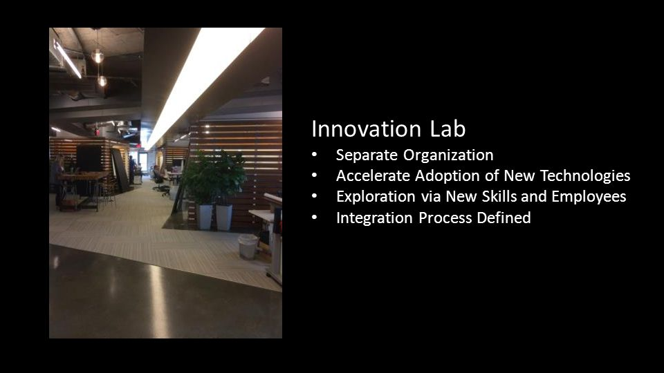 Innovation Lab Separate Organization Accelerate Adoption of New Technologies Exploration via New Skills and Employees Integration Process Defined