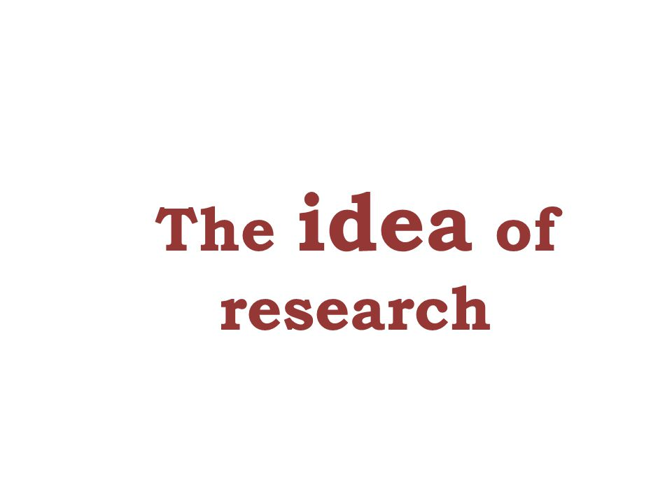 The idea of research