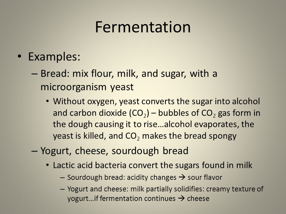Fermentation Examples: – Bread: mix flour, milk, and sugar, with a microorganism yeast Without oxygen, yeast converts the sugar into alcohol and carbon dioxide (CO 2 ) – bubbles of CO 2 gas form in the dough causing it to rise…alcohol evaporates, the yeast is killed, and CO 2 makes the bread spongy – Yogurt, cheese, sourdough bread Lactic acid bacteria convert the sugars found in milk – Sourdough bread: acidity changes  sour flavor – Yogurt and cheese: milk partially solidifies: creamy texture of yogurt…if fermentation continues  cheese