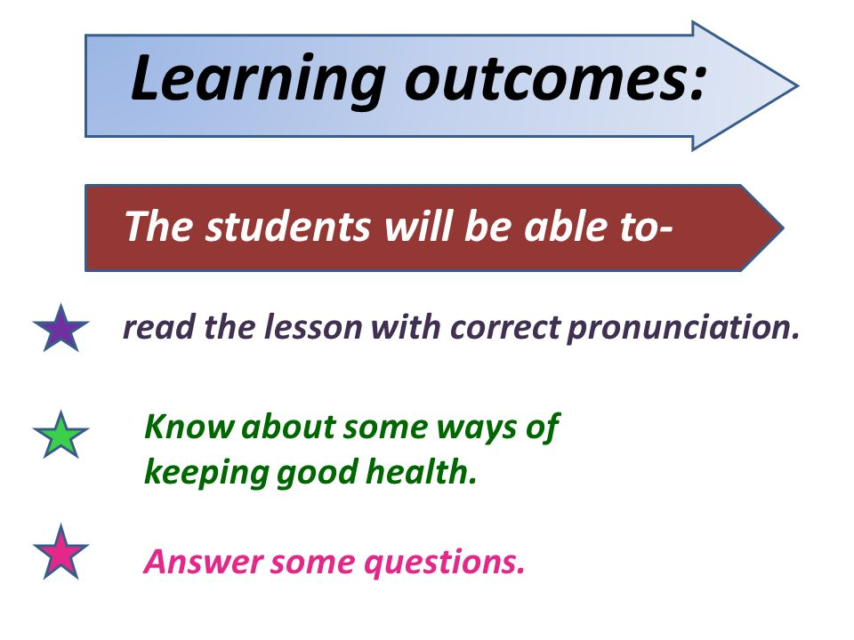 Learning outcomes: The students will be able to- Know about some ways of keeping good health. Answer some questions. read the lesson with correct pron
