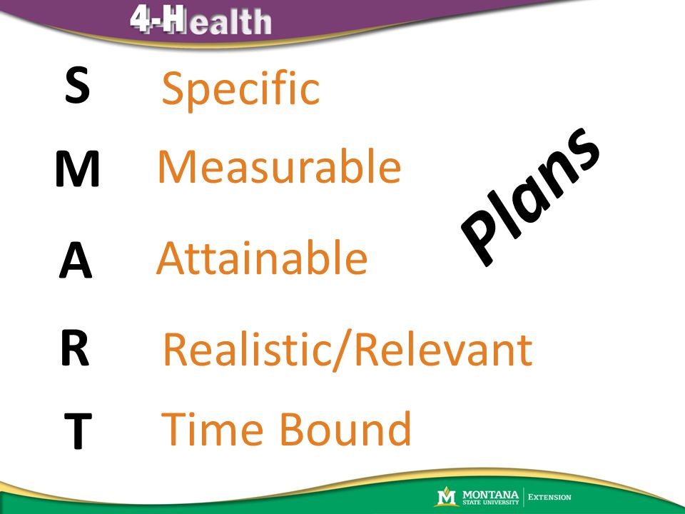 S M R A T Specific Measurable Attainable Realistic/Relevant Time Bound Plans