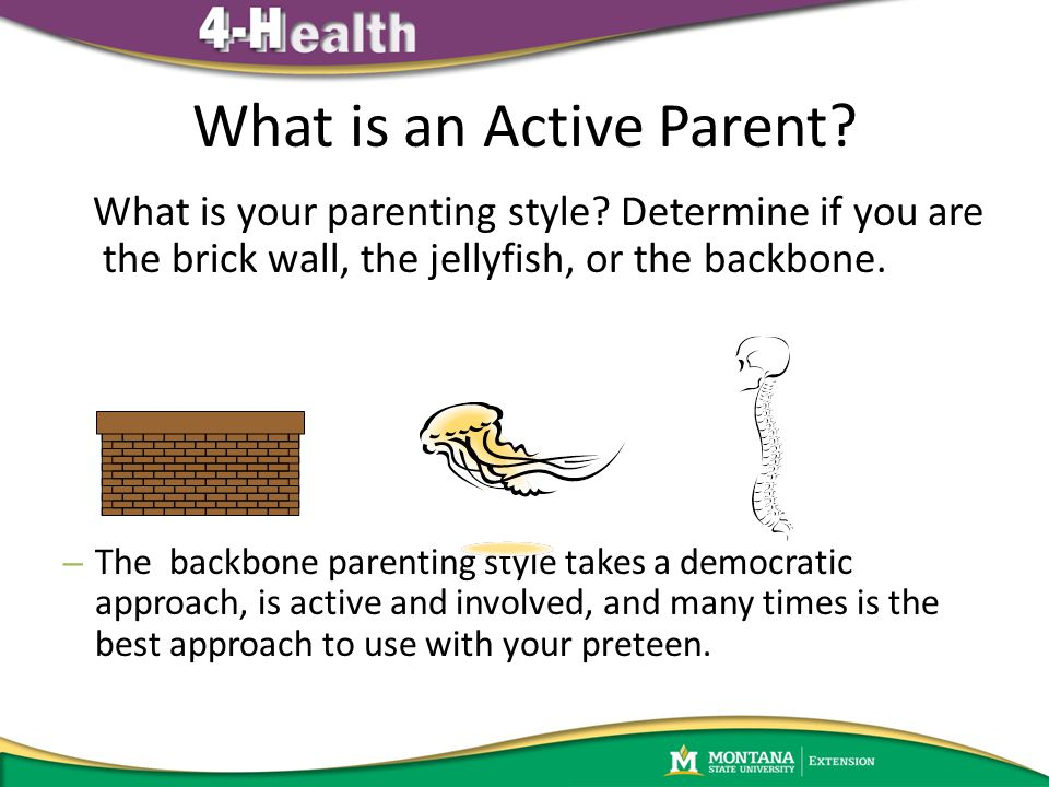 What is an Active Parent? What is your parenting style? Determine if you are the brick wall, the jellyfish, or the backbone. – The backbone parenting