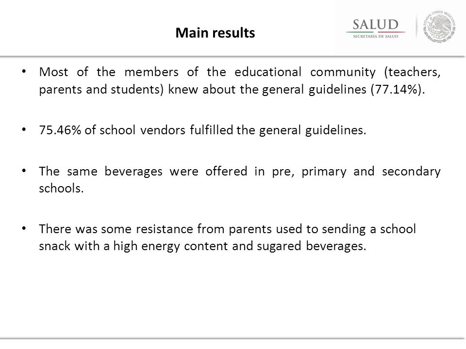 Main results Most of the members of the educational community (teachers, parents and students) knew about the general guidelines (77.14%).