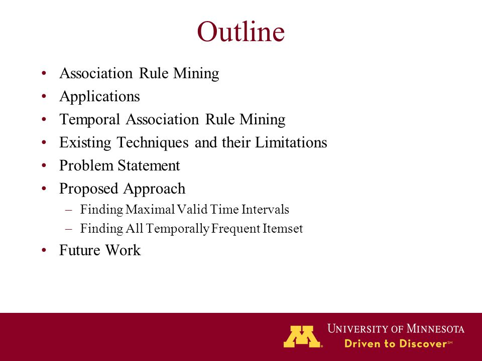 Outline Association Rule Mining Applications Temporal Association Rule Mining Existing Techniques and their Limitations Problem Statement Proposed App