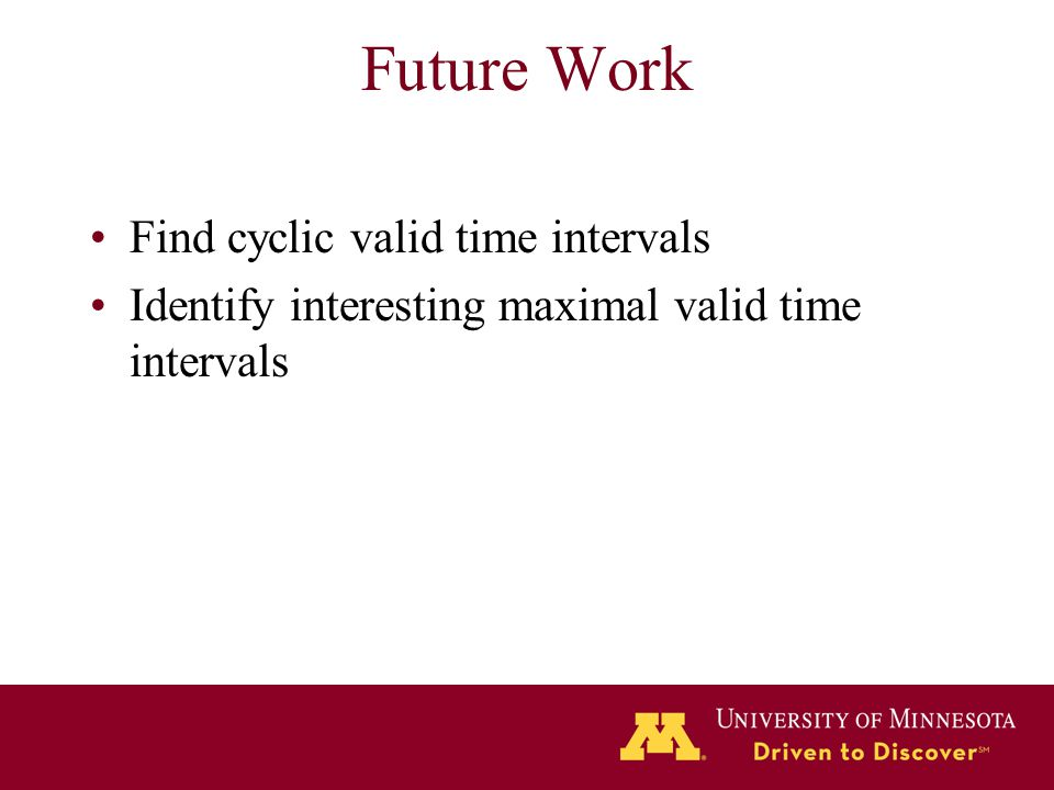 Future Work Find cyclic valid time intervals Identify interesting maximal valid time intervals