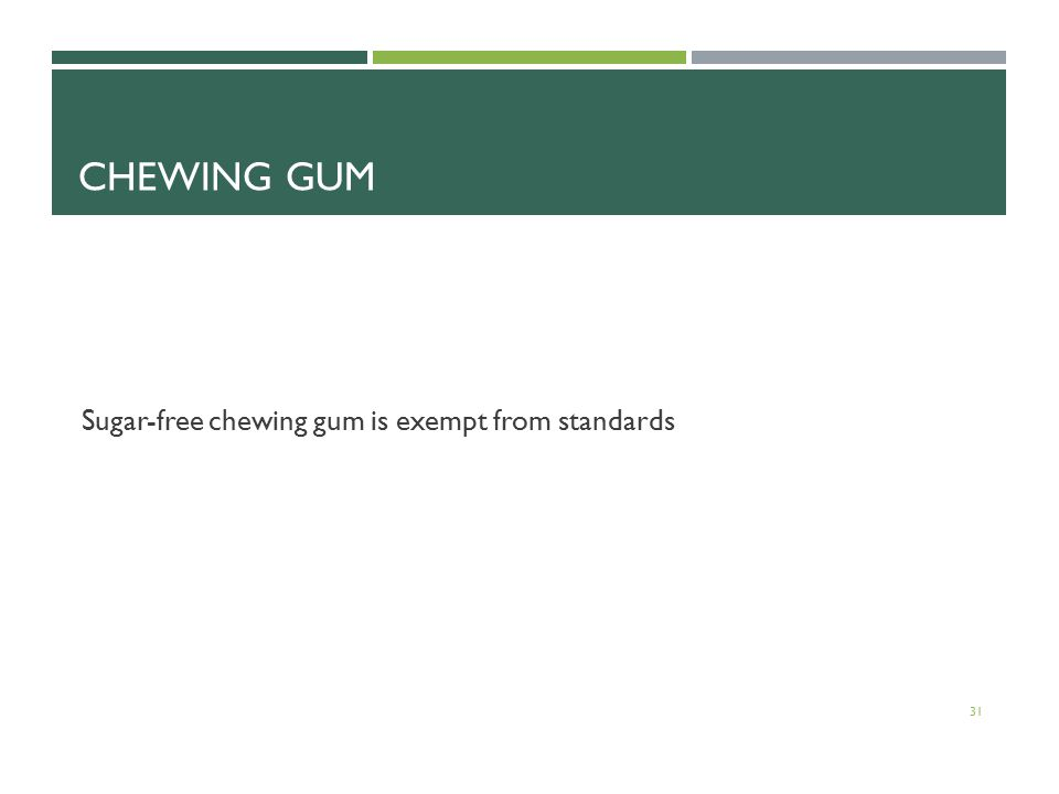 CHEWING GUM Sugar-free chewing gum is exempt from standards 31