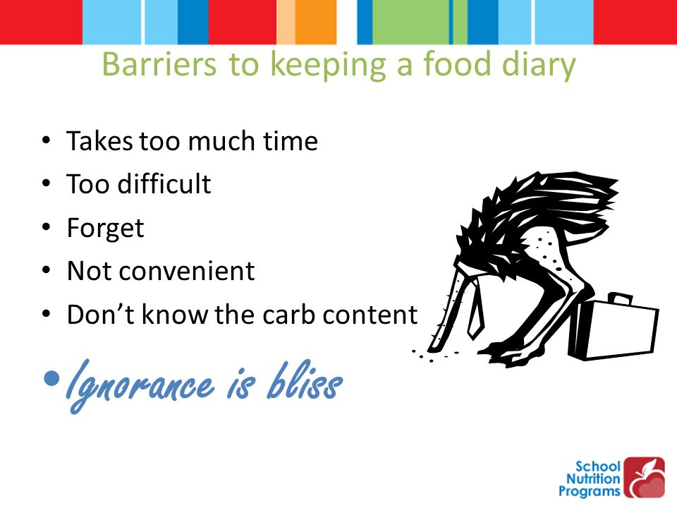 Barriers to keeping a food diary Takes too much time Too difficult Forget Not convenient Don't know the carb content Ignorance is bliss