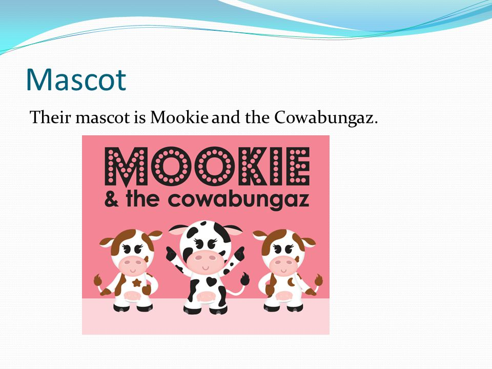 Mascot Their mascot is Mookie and the Cowabungaz.