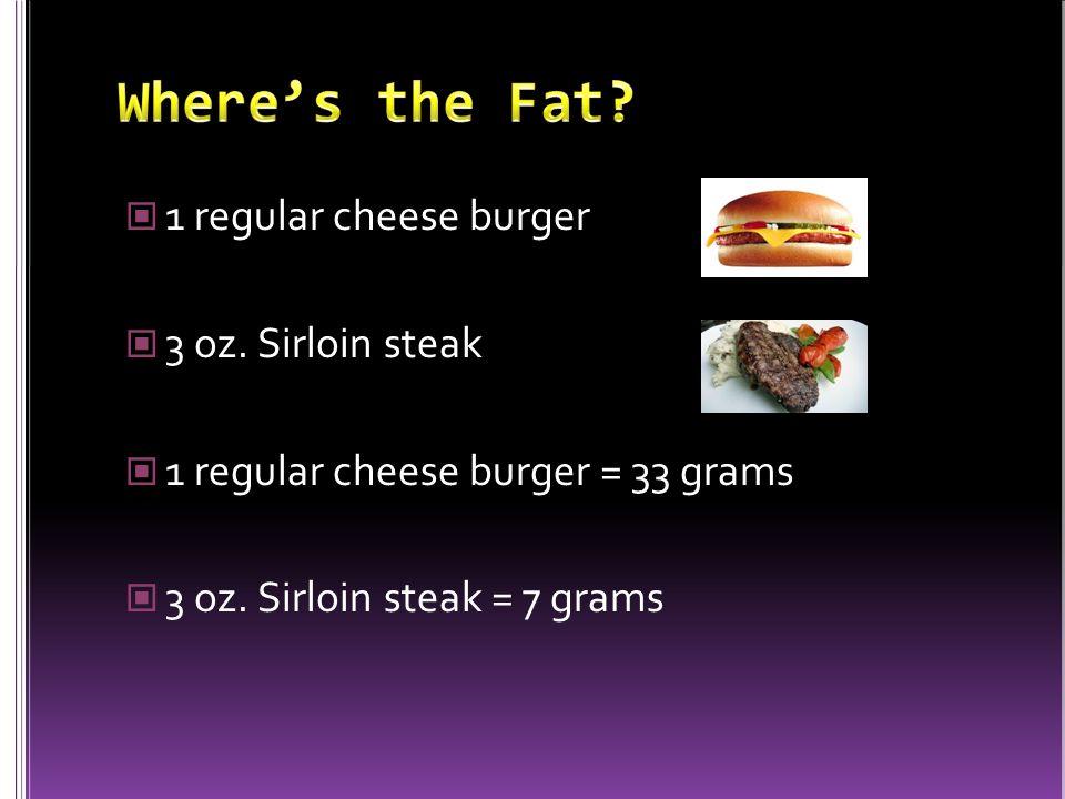 1 regular cheese burger 3 oz. Sirloin steak 1 regular cheese burger = 33 grams 3 oz.