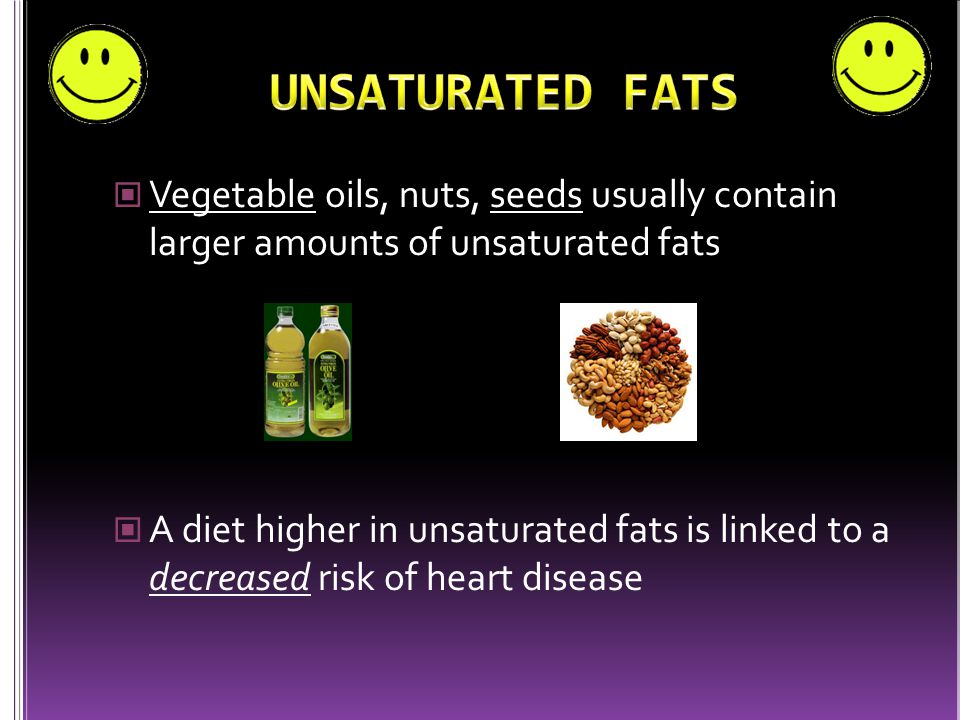 Found in animal products (eggs, meat, cheese, etc.) Palm oil, coconut oil, and palm kernel oil are also high in saturated fats A diet high in saturated fats is linked to increased risk of heart disease