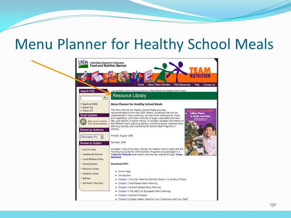 Menu Planner for Healthy School Meals 130