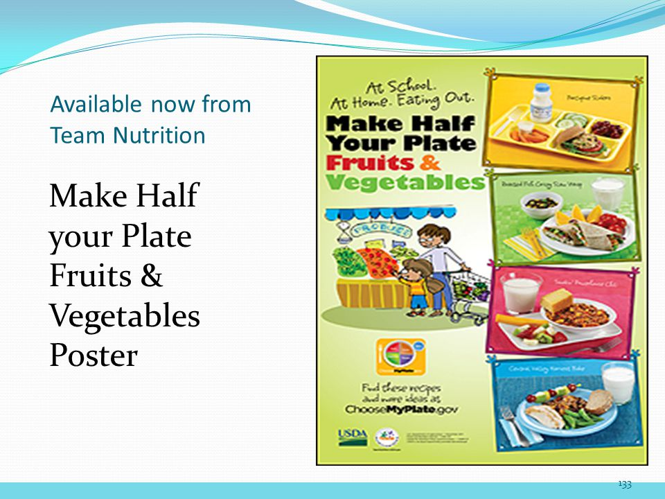 Available now from Team Nutrition Make Half your Plate Fruits & Vegetables Poster 133
