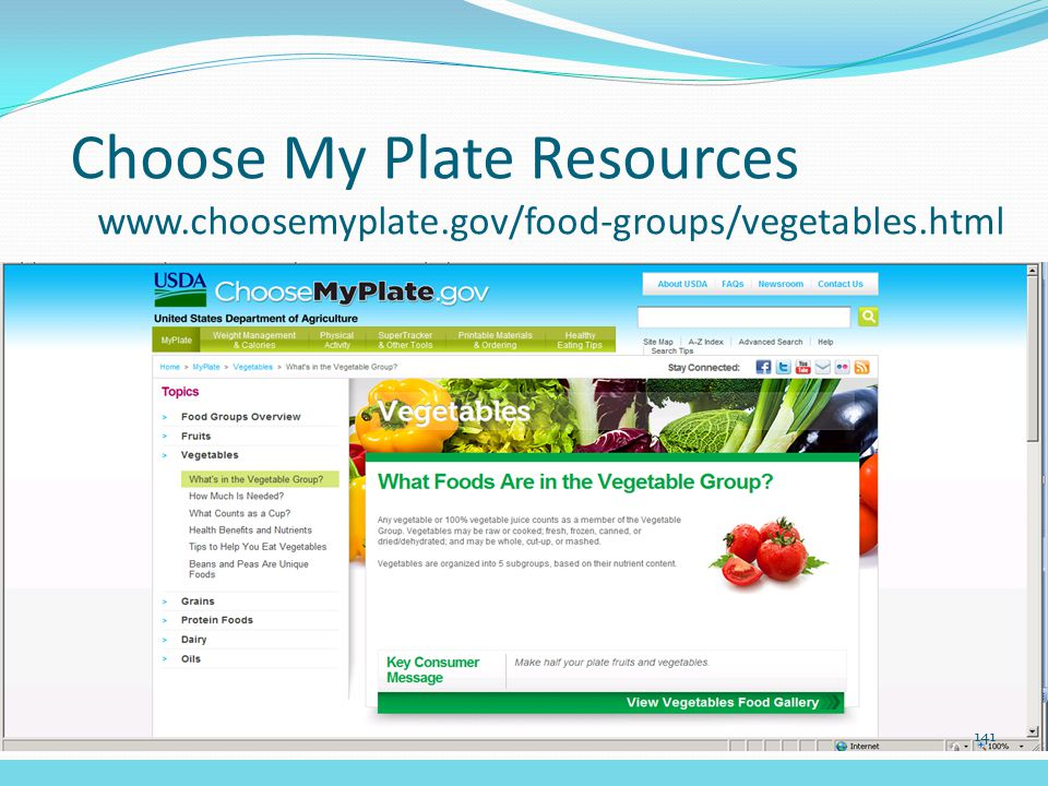 Choose My Plate Resources www.choosemyplate.gov/food-groups/vegetables.html 141
