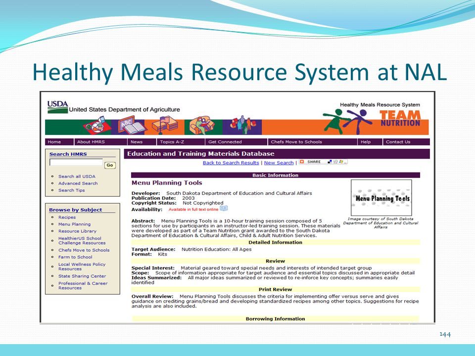 Healthy Meals Resource System at NAL 144