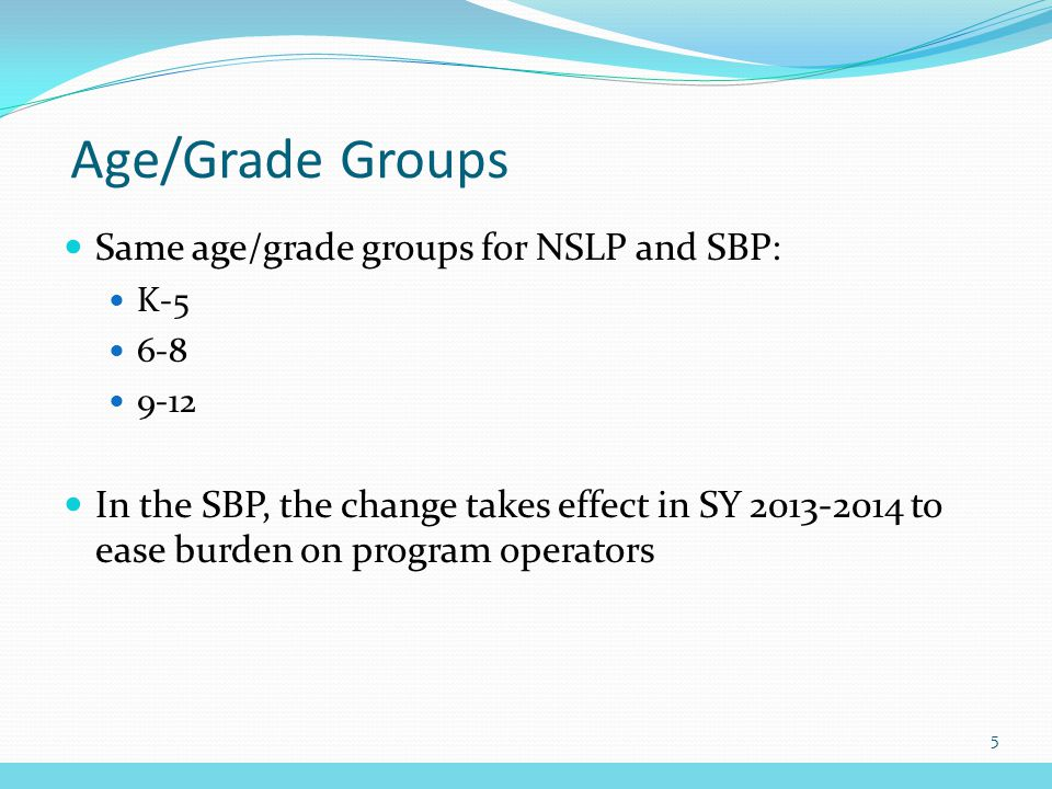 Age/Grade Groups Same age/grade groups for NSLP and SBP: K-5 6-8 9-12 In the SBP, the change takes effect in SY 2013-2014 to ease burden on program operators 5