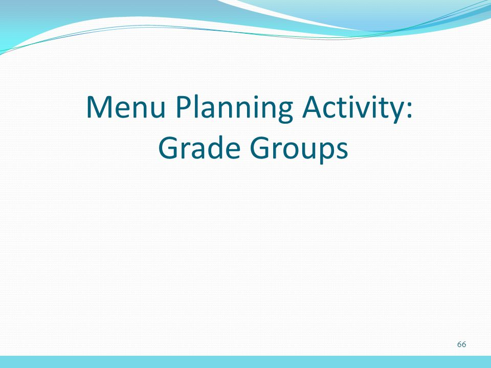 Menu Planning Activity: Grade Groups 66