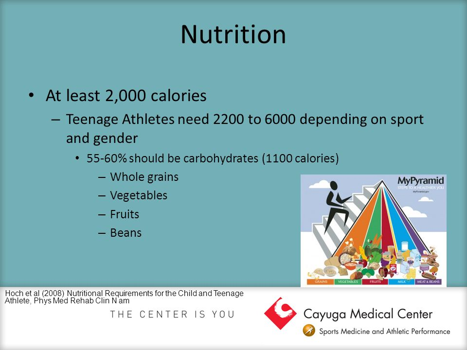 Nutrition At least 2,000 calories – Teenage Athletes need 2200 to 6000 depending on sport and gender 55-60% should be carbohydrates (1100 calories) –