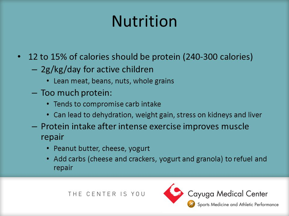 Nutrition 12 to 15% of calories should be protein (240-300 calories) – 2g/kg/day for active children Lean meat, beans, nuts, whole grains – Too much p