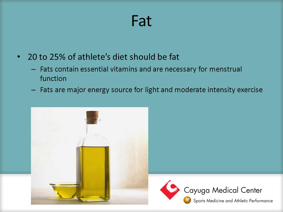 Fat 20 to 25% of athlete's diet should be fat – Fats contain essential vitamins and are necessary for menstrual function – Fats are major energy sourc