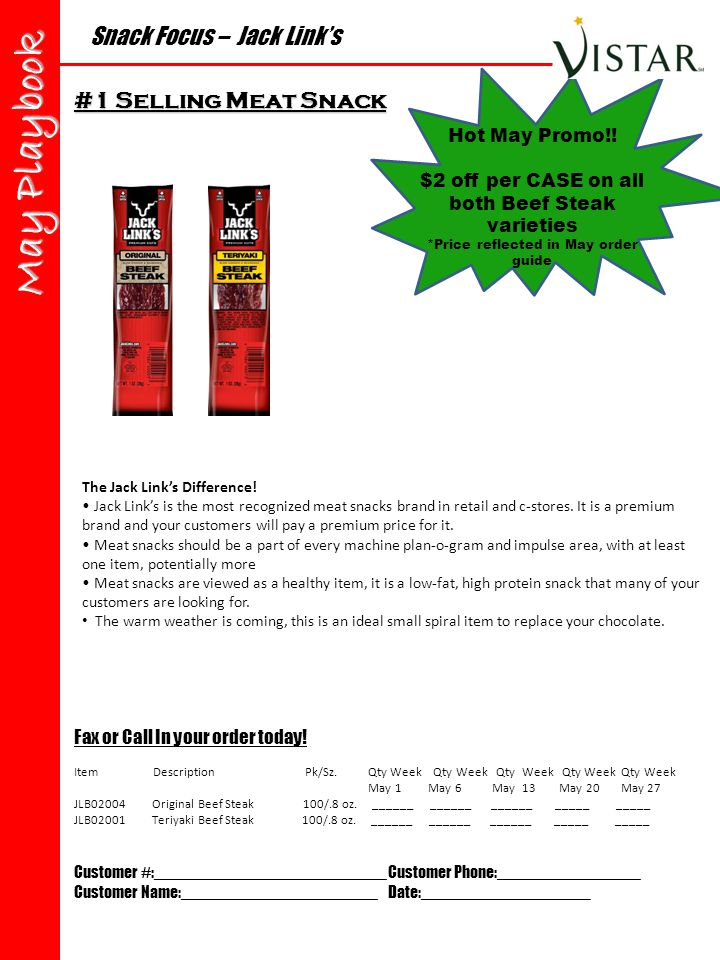 Snack Focus – Jack Link's May Playbook Fax or Call In your order today.