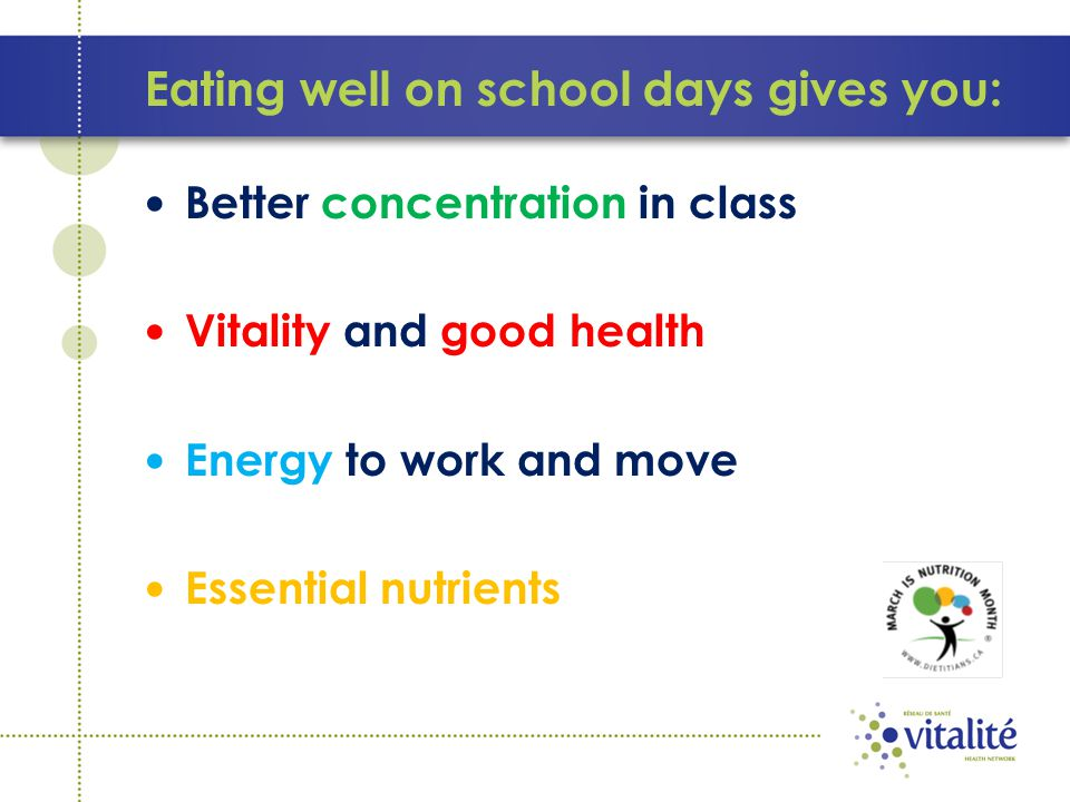 Eating well on school days gives you: Better concentration in class Vitality and good health Energy to work and move Essential nutrients
