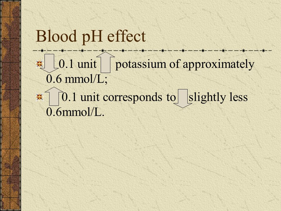 Blood pH effect 0.1 unit potassium of approximately 0.6 mmol/L; 0.1 unit corresponds to slightly less 0.6mmol/L.