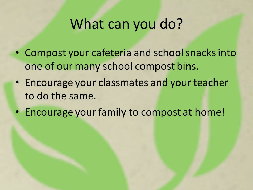 What can you do? Compost your cafeteria and school snacks into one of our many school compost bins. Encourage your classmates and your teacher to do t