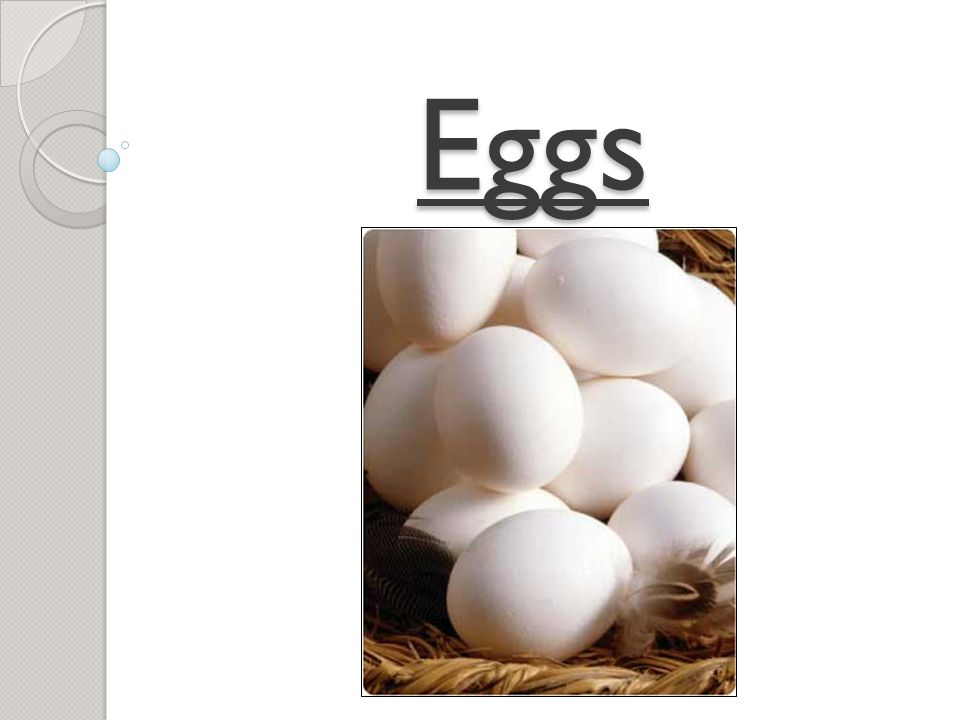 Parts of the Egg Air Pocket Yolk High in fat and Cholesterol Chalazae Keeps the yolk centered Shell Protects the egg contents Albumin (Egg White) Two parts: thin and thick