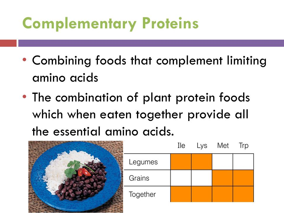 Complementary Proteins Combining foods that complement limiting amino acids The combination of plant protein foods which when eaten together provide a