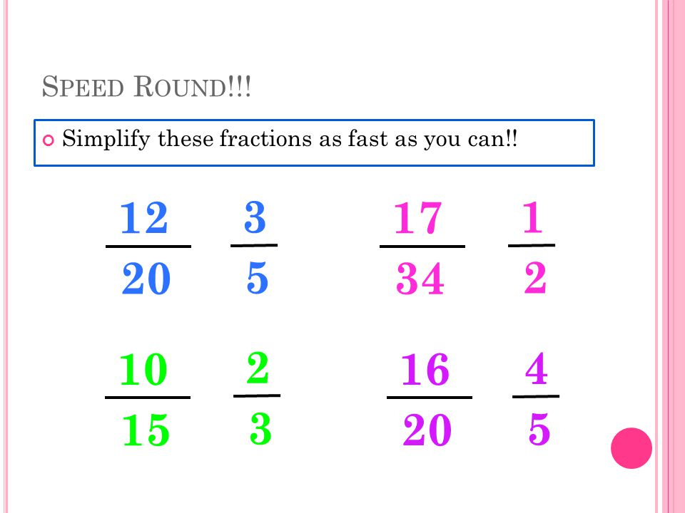 S PEED R OUND !!. Simplify these fractions as fast as you can!.