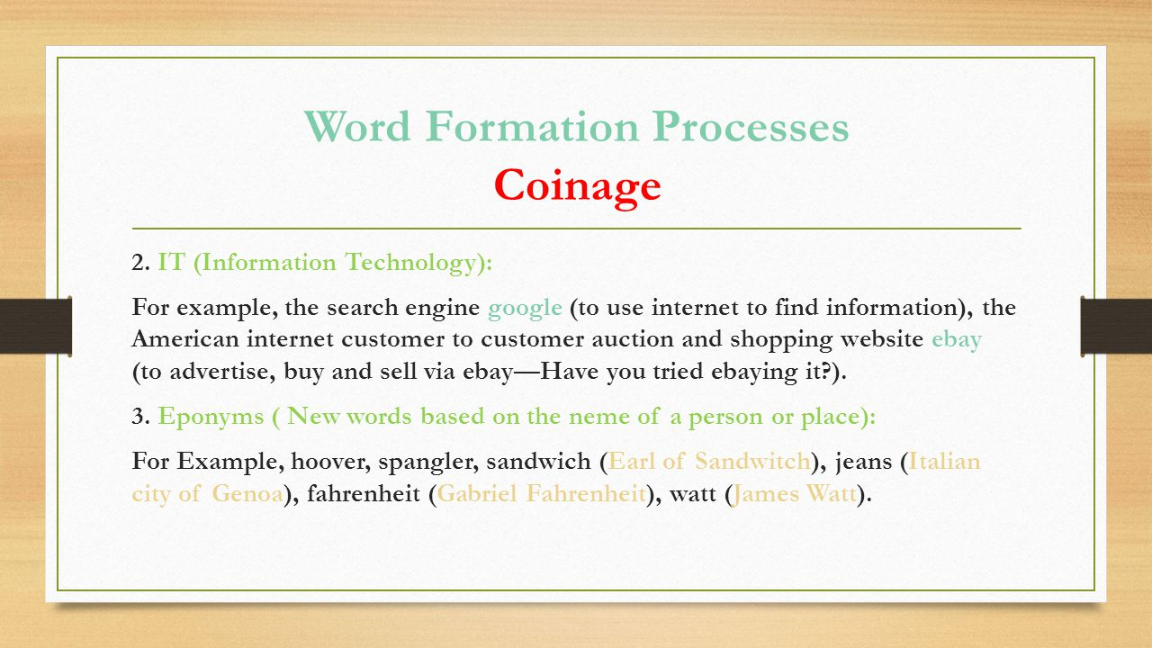 Word Formation Processes Coinage 2.