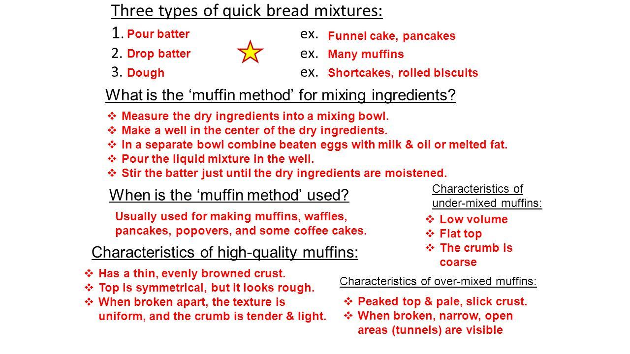 Three types of quick bread mixtures: 1.ex. 2.ex. 3.ex.