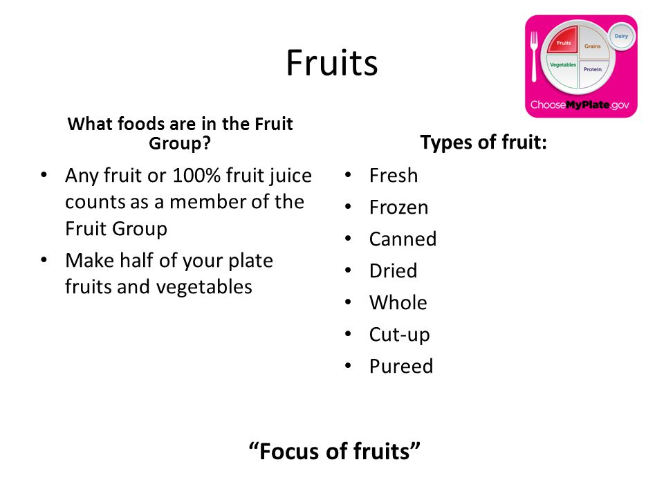 Fruits What foods are in the Fruit Group.