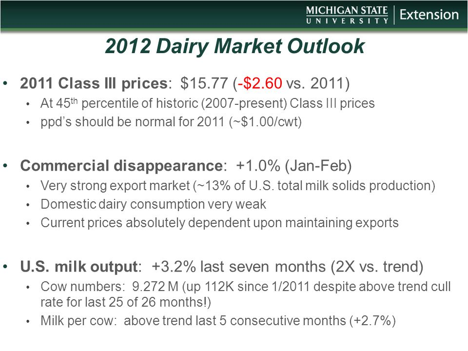 2012 Dairy Market Outlook 2011 Class III prices: $15.77 (-$2.60 vs. 2011) At 45 th percentile of historic (2007-present) Class III prices ppd's should
