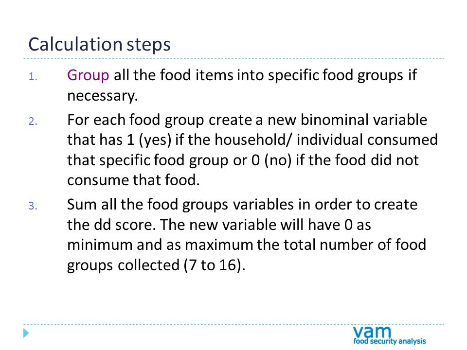 Calculation steps 1. Group all the food items into specific food groups if necessary.