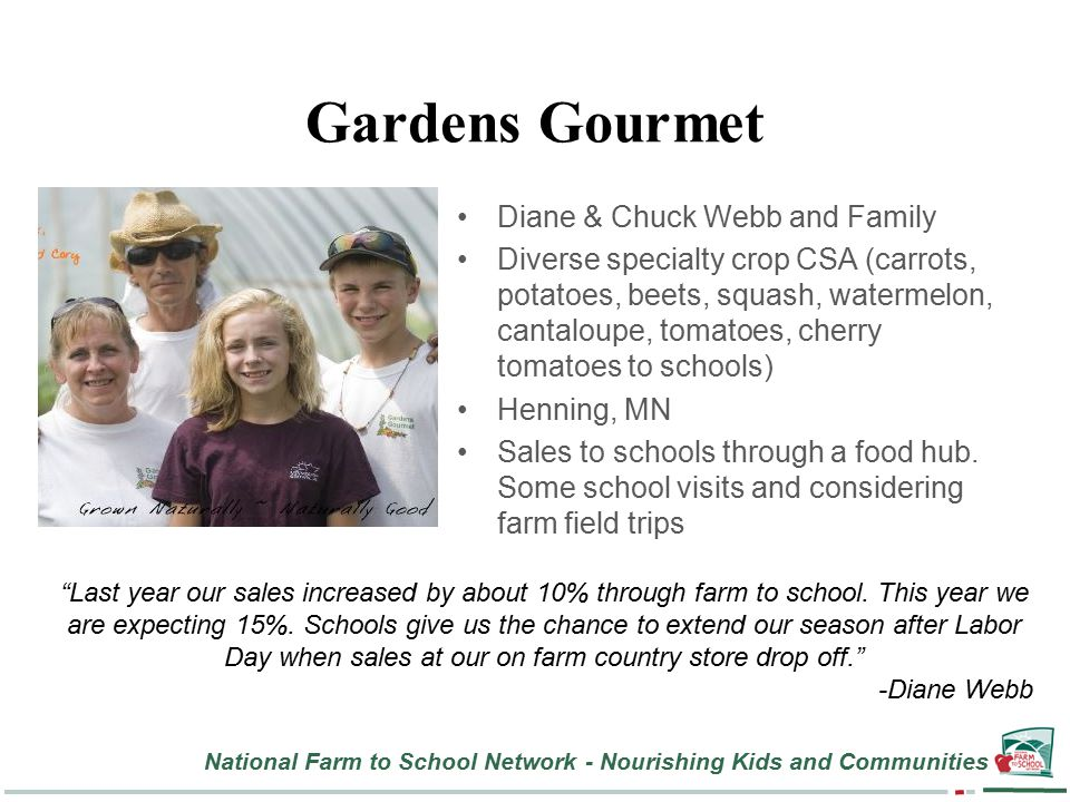 National Farm to School Network - Nourishing Kids and Communities Gardens Gourmet Diane & Chuck Webb and Family Diverse specialty crop CSA (carrots, potatoes, beets, squash, watermelon, cantaloupe, tomatoes, cherry tomatoes to schools) Henning, MN Sales to schools through a food hub.