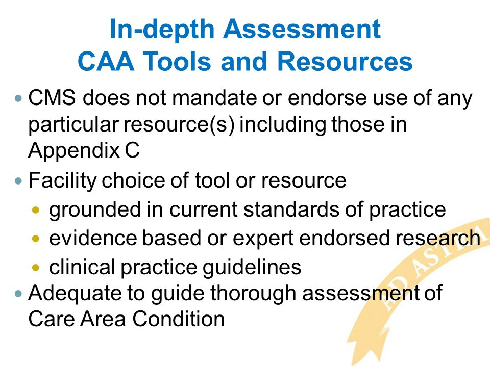 In-depth Assessment CAA Tools and Resources CMS does not mandate or endorse use of any particular resource(s) including those in Appendix C Facility c