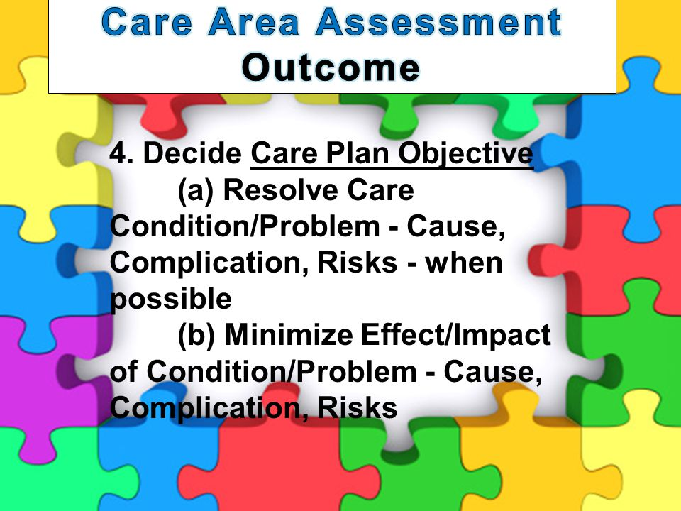 14 4. Decide Care Plan Objective (a) Resolve Care Condition/Problem - Cause, Complication, Risks - when possible (b) Minimize Effect/Impact of Conditi