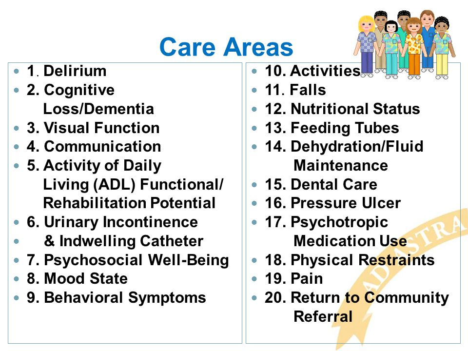 Care Areas 1. Delirium 2. Cognitive Loss/Dementia 3. Visual Function 4. Communication 5. Activity of Daily Living (ADL) Functional/ Rehabilitation Pot