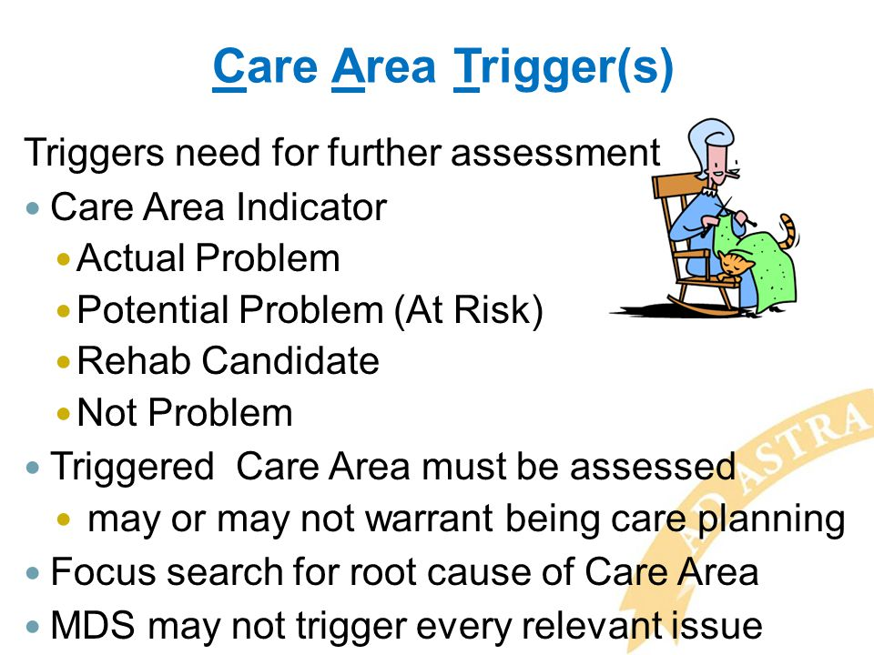 Care Area Trigger(s) Triggers need for further assessment Care Area Indicator Actual Problem Potential Problem (At Risk) Rehab Candidate Not Problem T
