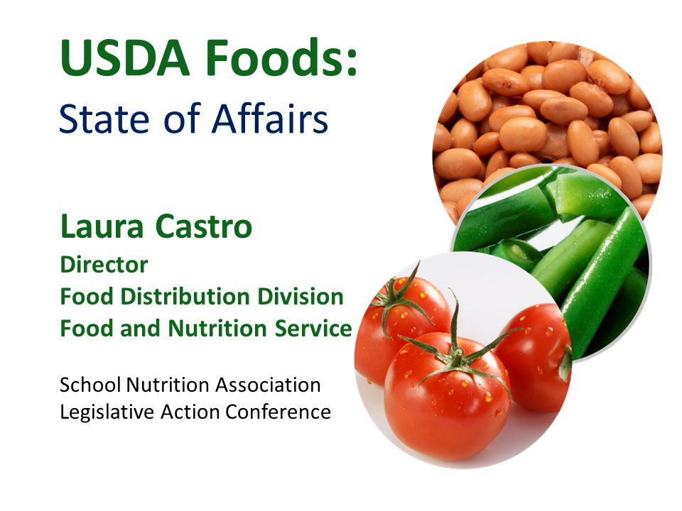 USDA Foods: State of Affairs Laura Castro Director Food Distribution Division Food and Nutrition Service School Nutrition Association Legislative Action Conference