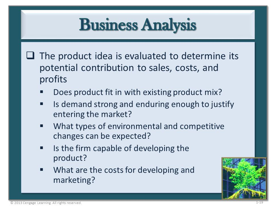 1-19  The product idea is evaluated to determine its potential contribution to sales, costs, and profits  Does product fit in with existing product mix.