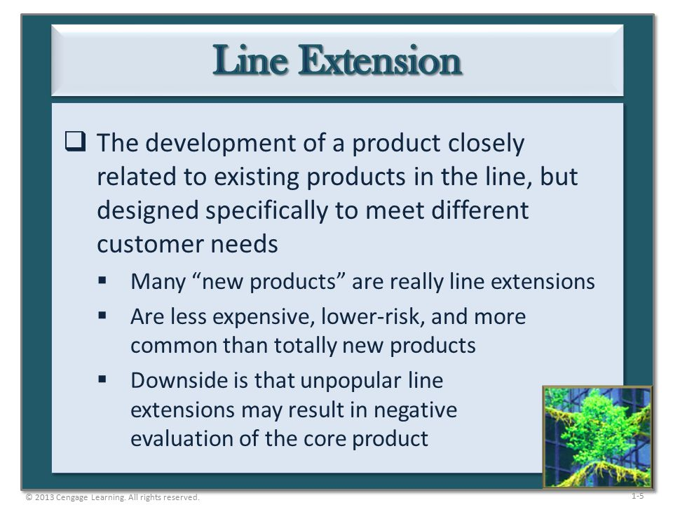 1-5  The development of a product closely related to existing products in the line, but designed specifically to meet different customer needs  Many new products are really line extensions  Are less expensive, lower-risk, and more common than totally new products  Downside is that unpopular line extensions may result in negative evaluation of the core product © 2013 Cengage Learning.