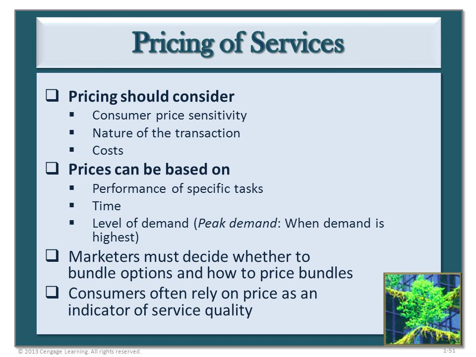 1-51  Pricing should consider  Consumer price sensitivity  Nature of the transaction  Costs  Prices can be based on  Performance of specific tasks  Time  Level of demand (Peak demand: When demand is highest)  Marketers must decide whether to bundle options and how to price bundles  Consumers often rely on price as an indicator of service quality © 2013 Cengage Learning.