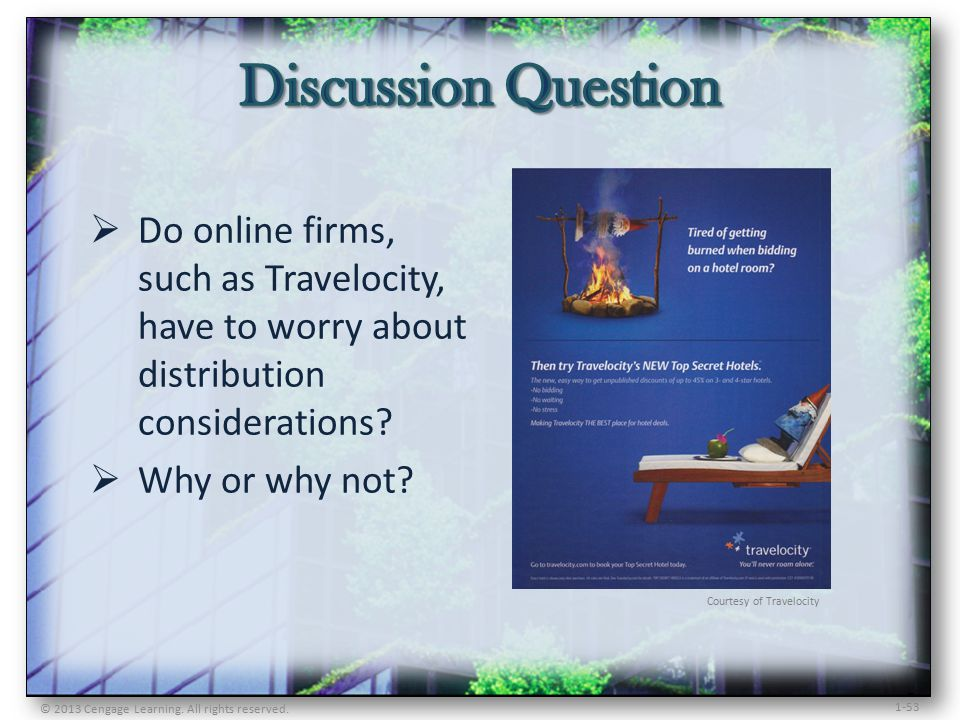 1-53  Do online firms, such as Travelocity, have to worry about distribution considerations.
