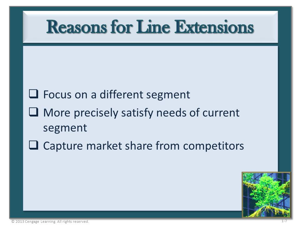 1-7  Focus on a different segment  More precisely satisfy needs of current segment  Capture market share from competitors © 2013 Cengage Learning.