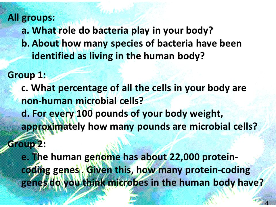 Group 1: c. What percentage of all the cells in your body are non-human microbial cells.