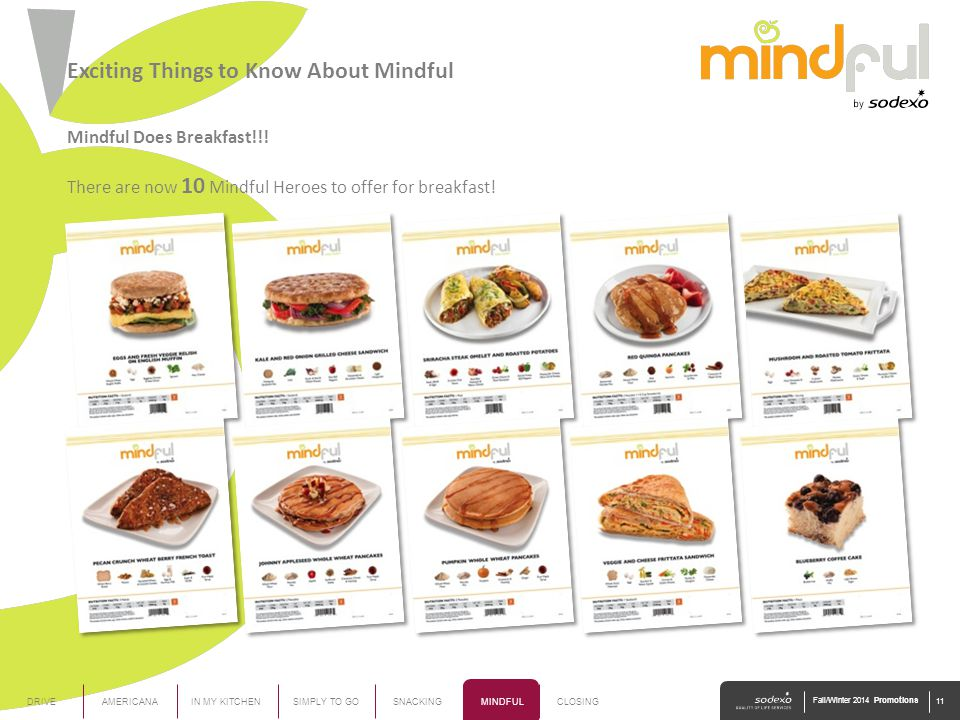 Mindful Does Breakfast!!! There are now 10 Mindful Heroes to offer for breakfast! AMERICANAIN MY KITCHENDRIVESIMPLY TO GOSNACKINGMINDFULCLOSING Fall/W