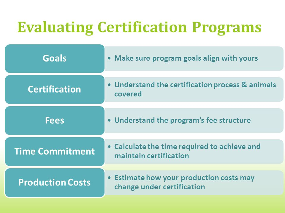 Evaluating Certification Programs Make sure program goals align with yours Goals Understand the certification process & animals covered Certification Understand the program's fee structure Fees Calculate the time required to achieve and maintain certification Time Commitment Estimate how your production costs may change under certification Production Costs